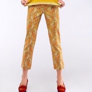 Anthro Cartonnier Persimmon Paisley Cropped Pants